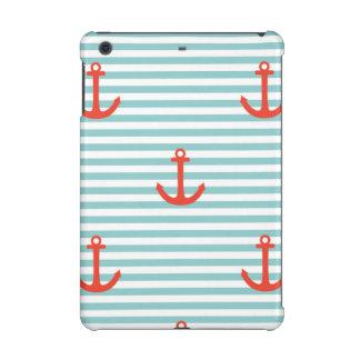 Mint,white,stripes,red anchor,marine,pattern,trend iPad mini retina cases