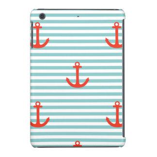 Mint,white,stripes,red anchor,marine,pattern,trend iPad mini retina cover