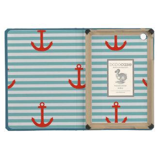 Mint,white,stripes,red anchor,marine,pattern,trend iPad mini retina covers