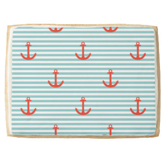 Mint,white,stripes,red anchor,marine,pattern,trend jumbo shortbread cookie