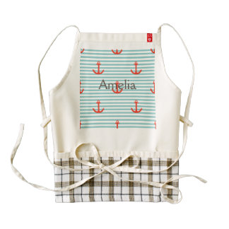 Mint,white,stripes,red anchor,marine,pattern,trend zazzle HEART apron