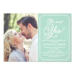 Mint & White Whimsical Engagement Party Invitation 5