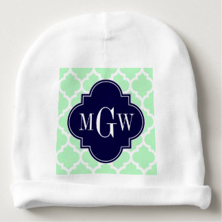Mint Wht Moroccan #5 Navy Blue 3 Initial Monogram Baby Beanie