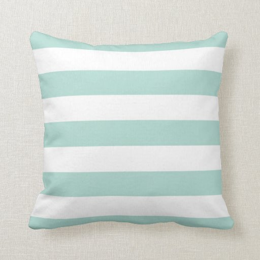 Mint Wide Stripe Pillows