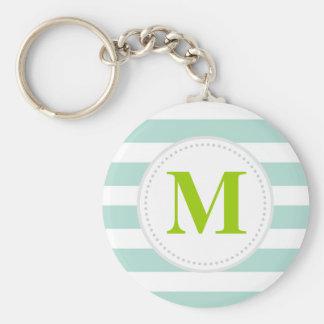 Mint Wide Stripes Custom Monogram Key Chain