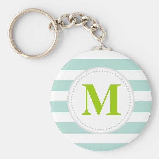 Mint Wide Stripes Custom Monogram Basic Round Button Keychain