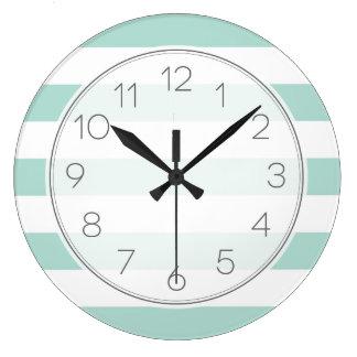 Mint Wide Stripes Large Clock