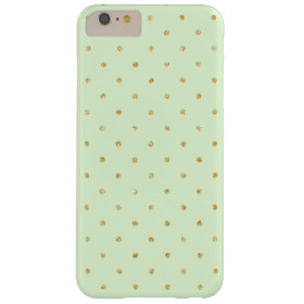 Mint with Gold Glitter Small Polka Dots Pattern Barely There iPhone 6 Plus Case