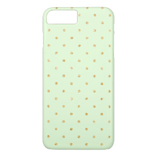 Mint with Gold Glitter Small Polka Dots Pattern iPhone 8 Plus/7 Plus Case