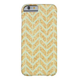 Mint with Gold Glitter Zigzag Chevron Pattern Barely There iPhone 6 Case