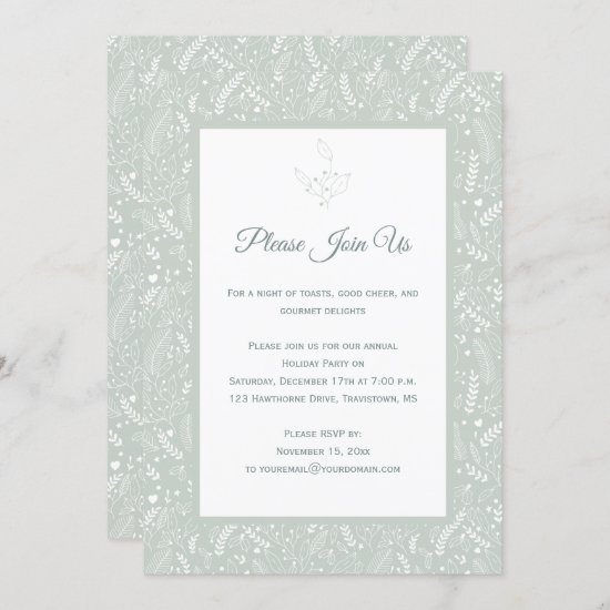 Mint with White Holly Berries Floral Swirls Patter Invitation