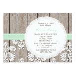 Mint Wood Lace Rustic Bridal Shower Invitations