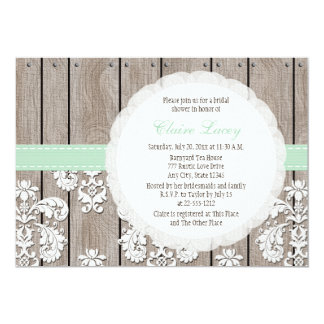 Mint Wood Lace Rustic Bridal Shower Invitations