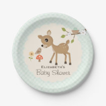 Mint Woodland Deer Baby Shower Paper Plate