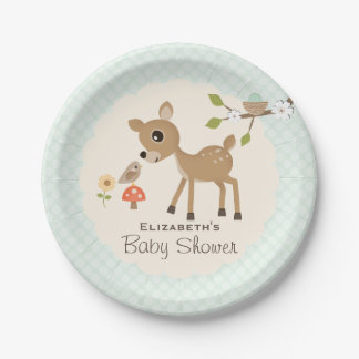 Mint Woodland Deer Baby Shower Paper Plate