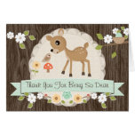MINT WOODLAND DEER BABY SHOWER THANK YOU CARD