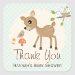 MINT Woodland Deer Baby Shower Thank You Stickers