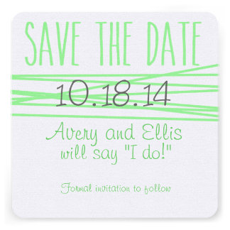 Mint Wrapped Wedding Save the Date Custom Invites