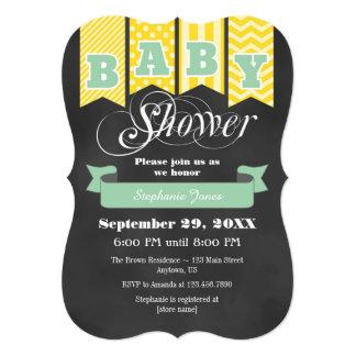 Mint Yellow Chalkboard Flag Baby Shower Invite