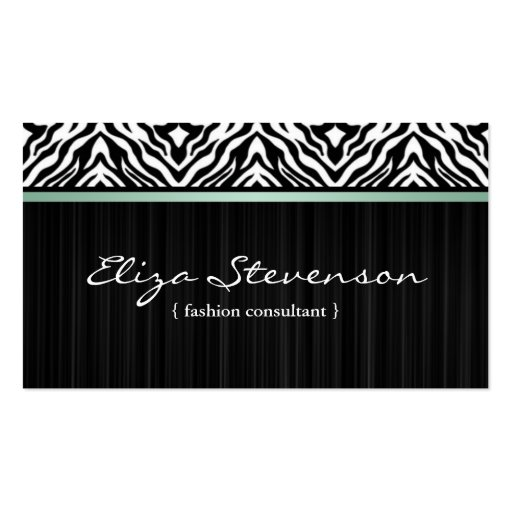 Mint Zebra Fashion Consultant Business Card