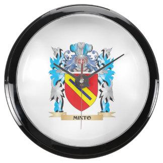 Minto Coat of Arms - Family Crest Aqua Clock