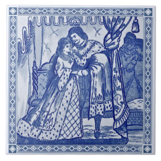 Minton Cinderella Blue Victorian Repro Tile c.1880