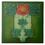"""Minton Hollins Art Nouveau Deco Floral Tile Repro<br><div class=""""desc"""">This is a reproduction of an unusual floral design from Minton, Hollins &amp; Co, England. Not quite Art Nouveau, it reminds us of Macintosh&#39;s style of Arts &amp; Crafts design and shows some early art deco elements as well. A striking design in Christmas colors, the original is tube-lined. The dimensionality...</div>"""