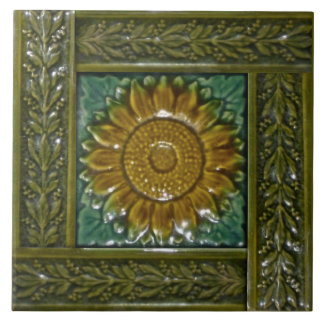 Minton Stoke on Trent Sunflower Majolica Tile