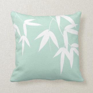 Minty Bamboos Throw Pillow