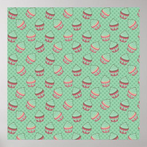 Minty Cupcake Pattern Print