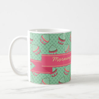Minty Cupcake Pattern with Ribbon Coffee Mug
