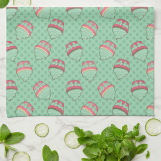 Minty Cupcake Pattern with Ribbon Hand Towels