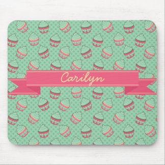 Minty Cupcake Pattern with Ribbon Mouse Pad