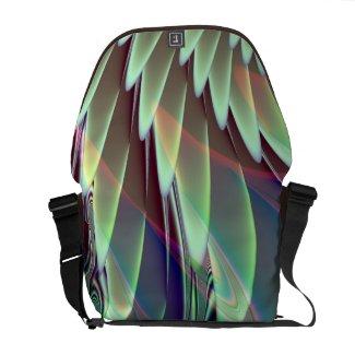 Minty Green and Brown Fractal Design Messenger Bag