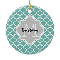 Minty Green and Gray Moroccan Quatrefoil Monogram Ceramic Ornament