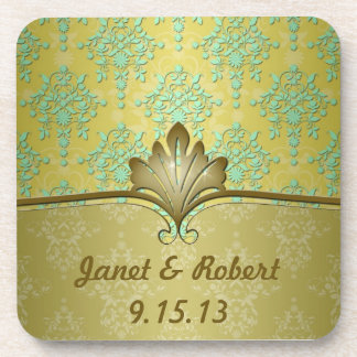 Minty Green and Olive Gold Damask For Names Coaster