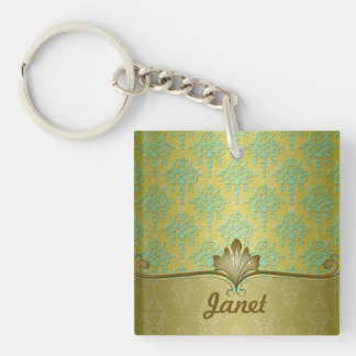 Minty Green and Olive Gold Damask For Names Keychain