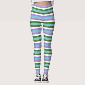 Minty Green and Purple Stripe Leggings