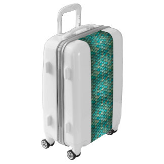 Minty Green Mermaid fish scales pattern Luggage