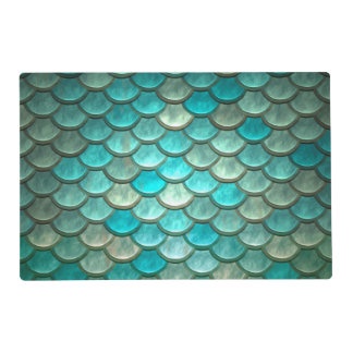 Minty Green Mermaid fish scales pattern Placemat