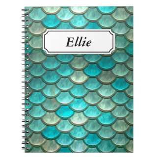 Minty Green Mermaid fish scales pattern Spiral Notebook