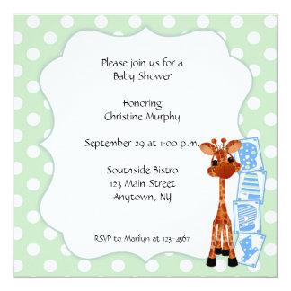 Minty Green Polka Dot Giraffe Invitation