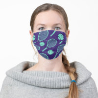Minty green  tennis rackets on navy  background cloth face mask