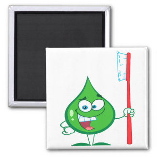 Minty Green Toothpaste Character toothbrush 2 Inch Square Magnet