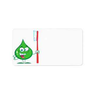 Minty Green Toothpaste Character toothbrush Address Label