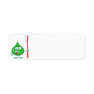 Minty Green Toothpaste Character toothbrush Custom Return Address Label