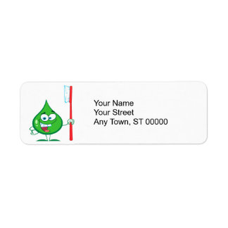 Minty Green Toothpaste Character toothbrush Custom Return Address Labels