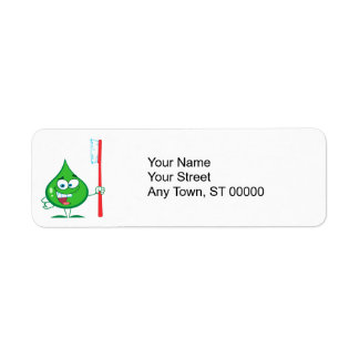 Minty Green Toothpaste Character toothbrush Return Address Labels