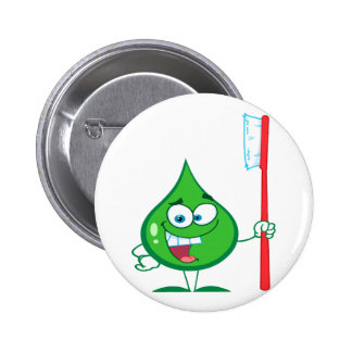 Minty Green Toothpaste Character toothbrush Pinback Button