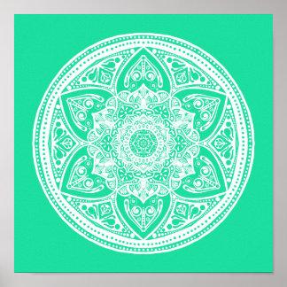 Minty Mandala Poster
